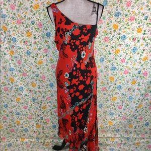 Vintage Eva Blue Asymmetrical One Shoulder Dress